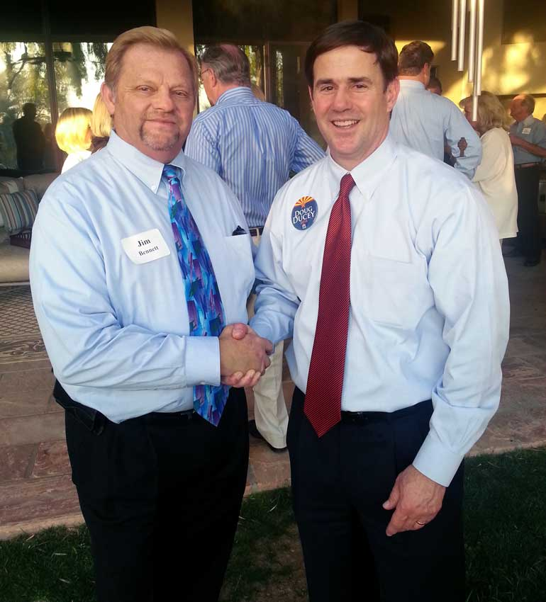 Jim Bennett, NAIFA-Arizona National Committee Chair, and Governor Ducey.