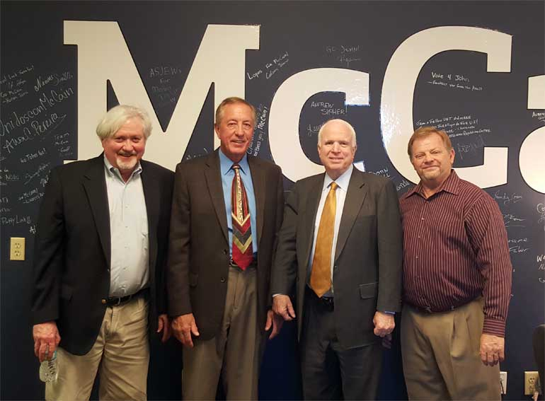 From left – Mike Low, NAIFA-Arizona lobbyist, Verl Naber, IFAPAC-Arizona Secretary/Treasurer, Senator John McCain and Jim Bennett, IFAPAC-Arizona Chair and NAIFA-Arizona National Committeeman.